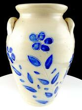 "ANTIQUE STONEWARE INCISED BLUE FLOWER DOUBLE HANDLED 8 3/4"" CROCK VASE"