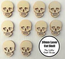 10 x 30mm Wooden Skull Laser Cut Shape Ply Blank Craft Skulls Wood Shapes DIY