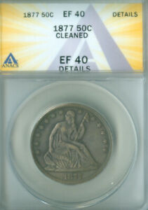 1877 50c Liberty Seated Half Dollar ANACS XF-40 DETAILS FREE S/H (2127206)