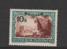 1948 Indonesia Bataker houses and locomotive Postage Stamp 10 sen
