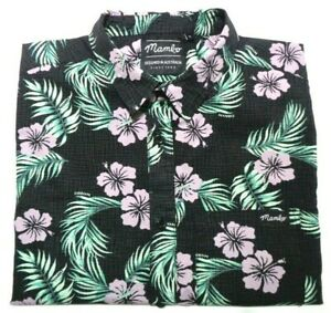 MAMBO MENS SIZE SMALL BLACK FLORAL BUTTON UP SHORT SLEEVE SHIRT FREE POST