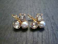 2.31 Carat Pearl and Diamond Cluster Earrings in 18k Yellow Gold Over (1 Pair)