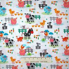 Nursery Baby Fabric - Funny Farm Cow Pig Cat Animal Scene White - Studio E YARD