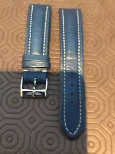 20mm Blue Calf Breitling Watch Strap. Steel Pin Buckle
