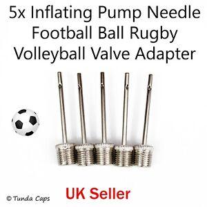 Football Pump Inflator Needles Rugby Ball VolleyBall NetBall Valve Adaptors x5