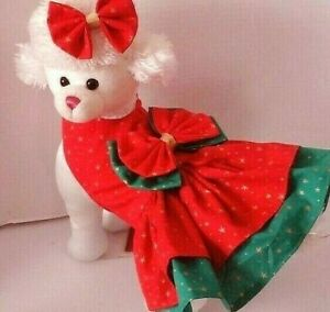 Dog Dress/Harness   CHRISTMAS GOLD STAR WITH  HAIR BOW  NEW  FREE SHIPPING