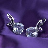 18k white gold gf made with SWAROVSKI crystal bling clear stud dangle earrings