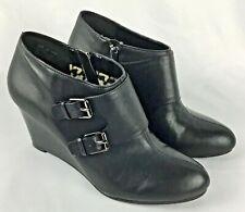 Anne Klein iFlex Black Leather Wedge Booties Double Buckles Side Zip Size 9.5 M