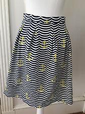 Sailor Sailor JUST MADRAS Blue White Striped Anchor Print Stretch Skirt M Pleats
