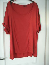 M & CO RUST COLOURED LOOSE SCOOP NECK TOP - SIZE 16 - NEW