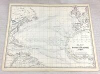 1861 Antique Map of The North Atlantic Hand Coloured Engraving Keith Johnston