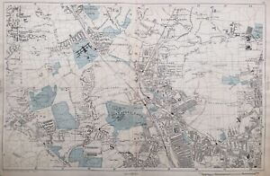 """1899 Antique Map; Hornsey, Palmers Green - Large Scale London Atlas. 4""""=Mile"""