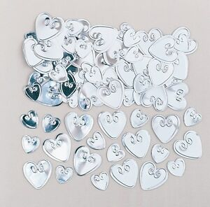 Silver Loving Hearts Heart Wedding Table Confetti Foiletti Decoration 14-84g