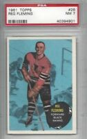 1961 Topps hockey card #26 Reg Fleming, Chicago Blackhawks graded PSA 7