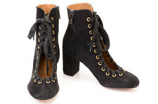 Chloe black L7 R6.5 suede cut away front lace up ankle boot shoe NEW $1160