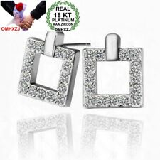 18KT Platinum Gold Silver kpop Fashion Geometry Women Bride Stud Earrings ED86