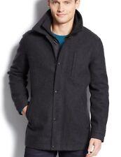 NWT Calvin Klein Men's Coat M Charcoal Gray Wool Bib Chest Zip Faux Leather Trim