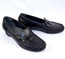 SAS Womens Tripad Comfort Black Leather Walking Slip On Shoes Sz 9.5 Narrow USA