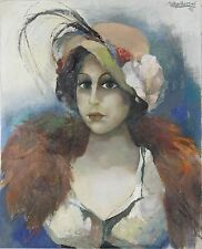 N4-012. PORTRAIT OF WOMAN. OIL ON CANVAS. AGUILAR MORE. 1991.