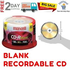 CD-R Blank Media 30 Pack Spindle Recordable CD Audio Music 32 x 80 Minute 700 MB