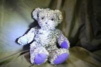 Besterer Purple & White Teddy Bear Plush Toy Cuddly Stuffed Animal Soft Gift