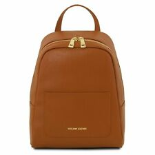Tuscany Leather Small Saffiano Italian Leather Backpack in Cognac RRP £95