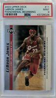 2003-04 Upper Deck Phenomenal Beginning LeBron James Rookie RC #11, PSA 9 Mint