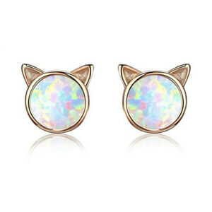 Cute Cat White Simulated Opal Charm Stud Earring Gold Filled Wedding