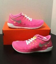 NIKE FREE 5.0 (GS) RUNNING SHOES GIRLS SZ 4Y NEW!! 644446-600 PINK GLOW/SLVR