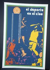 SPORTS IN THE CINEMA // Cuban Silk-screen Movie Poster // Cuba Olympics IOC Art