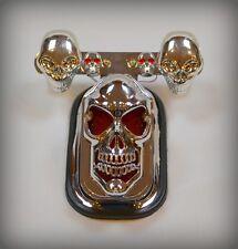 Feu stop Chrome Tête de Mort Skull + Support de plaquepour moto custom ~ NEUF