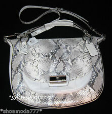 $598 COACH Kristin Embossed Python Round Satchel Leather Purse Bag Handbag 19325