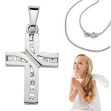 Kinder Kommunion Konfirmation Taufe Zirkonia Kreuz Anhänger mit Kette Silber 925