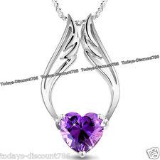 MUJER JOYERÍA Navidad Para Ella Corazón Púrpura Collar Con Cristal Amor Esposa