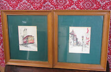Jan Schaafsma hand colored original prints-2 chinatown & cable car framed & sign