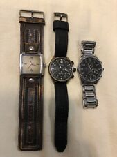 Lot Of 3 Men's Fossil watches leather/SS