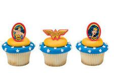 Wonder Woman Amazing Amazon cupcake rings (24) favor cake topper 2 doz