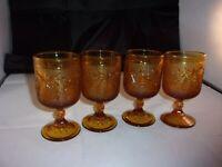 4 Vintage Tiara Indiana Glass 8 oz Amber Stemmed SANDWICH Water Goblets