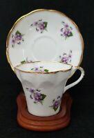 Elizabethan Fine Bone China Tea Cup & Saucer Set Floral Purple Gold Trim England
