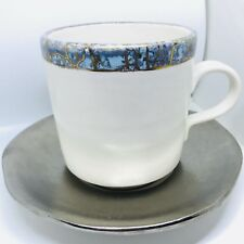 Michael Wainwright Pottery Blue Crackle Cup Silver Saucer 2000