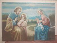Quadro Capezzale Dipinto A Mano su tela sacra famiglia classico 50x70 Telaio