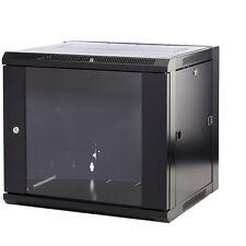 "15U 500mm 19"" Black Wall Cabinet Network Data Rack Patch Panel, PDU & LAN Switch"
