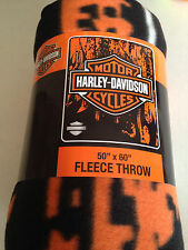 Harley Davidson Road Warrior fleece blanket  throw NEW OPEN ITEM
