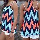Women Chevron Strap Sleeveless Summer Casual Camisole Tops Blouses Vests Happy
