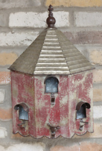 LARGE RUSTIC STYLE METAL BIRD HOUSE HOTEL WALL HANGING GARDEN