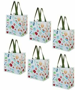 Earthwise Reusable Grocery Bags Shopping - Totes (Pack of 6) (Back to School)
