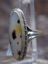 Montana Agate Ring 10k White Gold Ladies Ring Size 6 Vintage Ladies Jewelry