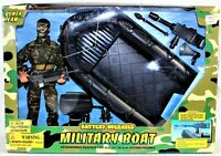 "World Peacekeepers Power Team Military Boat & 12"" Action Figure Battery Operated"