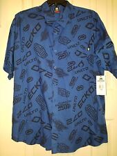 NWT ECKO Mens 3X Big Short Sleeve Button Up Blue/Black