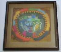 SIMON POSTHUMA DRAWING PAINTING 1960'S ABSTRACT CUBIST CUBISM MODERNISM FACES